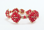 Diamond SuperDuo Bracelet Beadwork Kit - Red and Gold